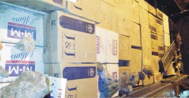 Bebek bezleri arasında 1,5 ton kaçak sigara yakalandı