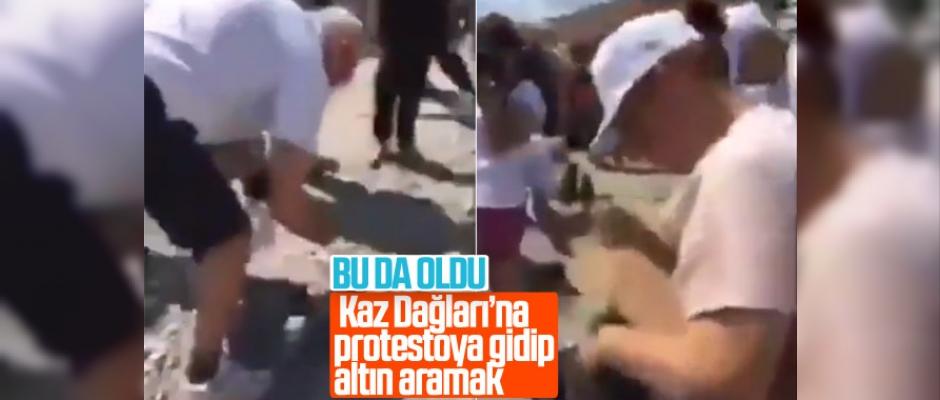 Protestocular Kaz Dağları'nda altın peşine düştü