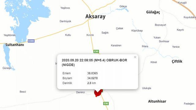 Niğde'deki deprem Aksaray'da hissedildi!