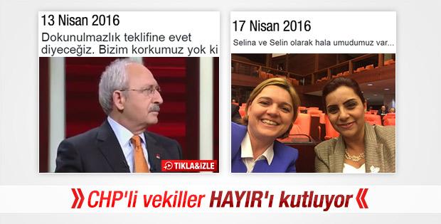 CHP'li vekiller Hayır oylarını kutluyor