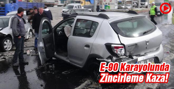 E-90 Karayolunda zincirleme kaza