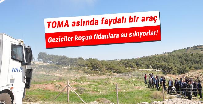 Mersin'de polis teşkilatı fidan dikip TOMA'yla suladı