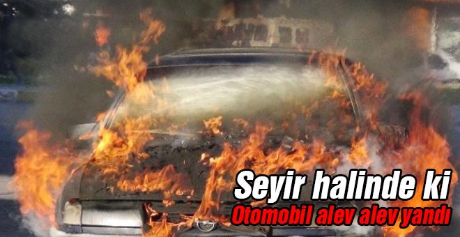 Seyir halinde ki otomobil alev alev yandı